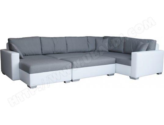 canap bi mati re ub design megan angle droit avec pouf blanc et silver pas cher. Black Bedroom Furniture Sets. Home Design Ideas
