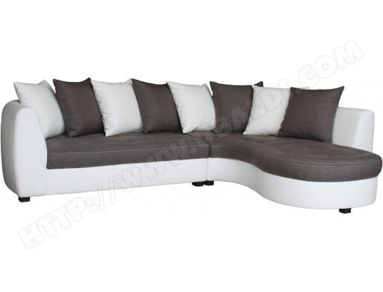 canap bi mati re ub design harry angle droit pu blanc et tissu gris pas cher. Black Bedroom Furniture Sets. Home Design Ideas