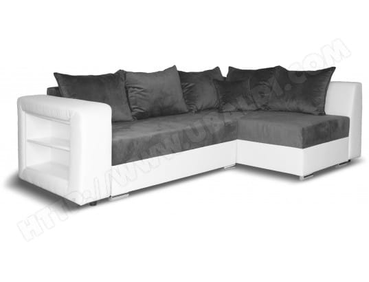 Canapé lit UB DESIGN Keo angle convertible droit PU blanc MF grise