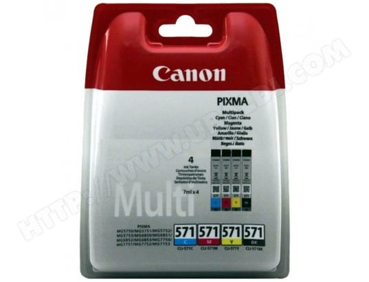 Pack cartouches d'encre CANON CLI-571 Pack 4 cartouches