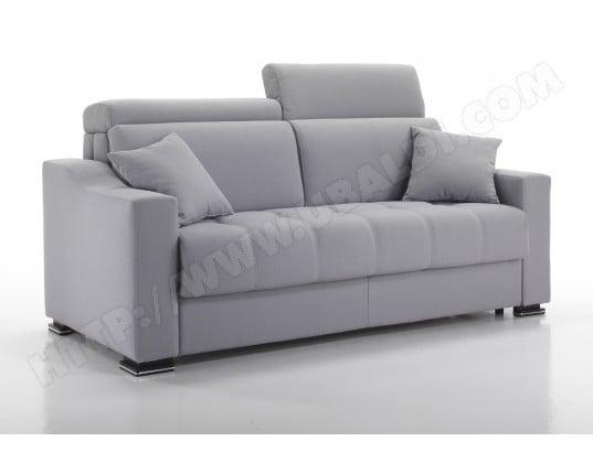 canap lit alterego divani noah 3 pl lin gris matelas 140 40kgm3 pas cher ubaldicom - Canape Lit 140