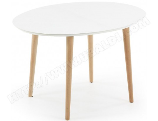Table de salle à manger LF Oakland ovale 120/200x90cm blanc/bois