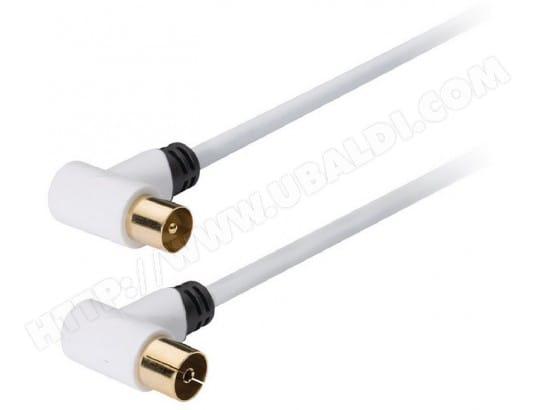 Câble antenne TV KONIG coaxial mâle coudé vers femelle 1 m - KNS40100W10