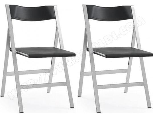 chaise lf lot de 2 chaises pliables fargo noires pas cher ubaldicom - Chaises Pliables
