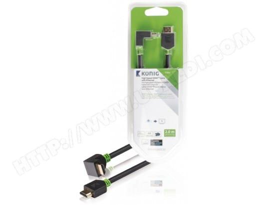 Câble HDMI KONIG Câble HDMI coudé à 90° 2 m gris - KNV34200E20