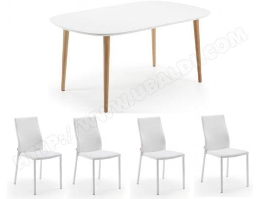Ensemble table et chaises LF Table Oakland extensible + 4 chaises Aura