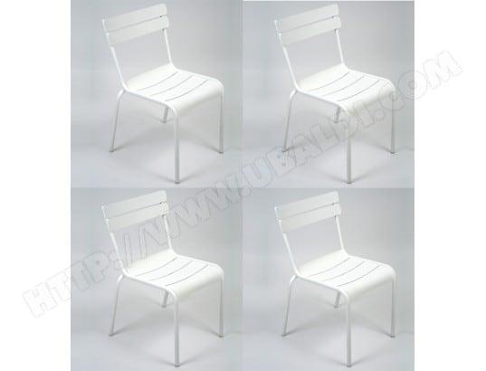 Chaise FERMOB Lot De 4 Chaises Luxembourg Blanc Coton Pas Cher