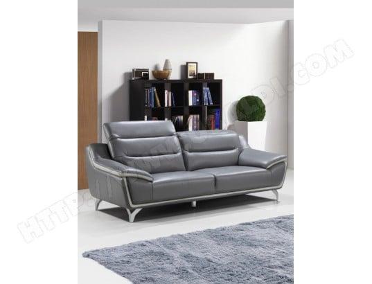 canap cuir ub design pisaro 3 pl gris fonc gris clair pas cher. Black Bedroom Furniture Sets. Home Design Ideas