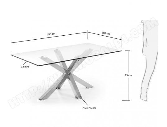 Table De Salle A Manger Lf Arya 180x100 Plateau Verre Pied Inox Pas