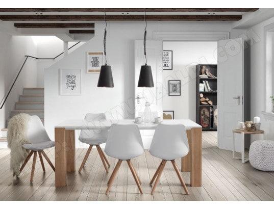 Table de salle à manger LF Zuni 180x90 laqué blanc et pied chêne Pas ...