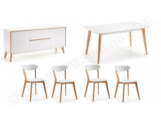 Bahut LF Ensemble Meety bahut + table + 4 chaises Luana