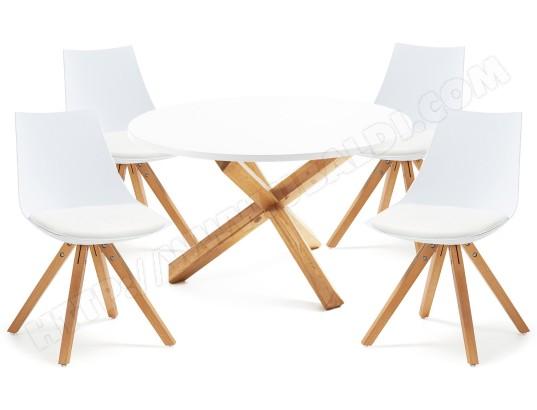 Ensemble table et chaises LF Table Nori blanche + 4 chaises blanches