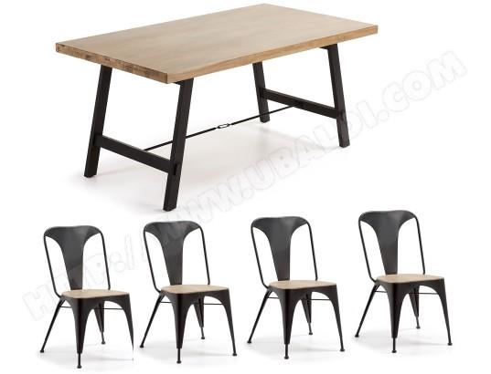 Ensemble table et chaises LF Table Vita V010M46 + 4 chaises métal