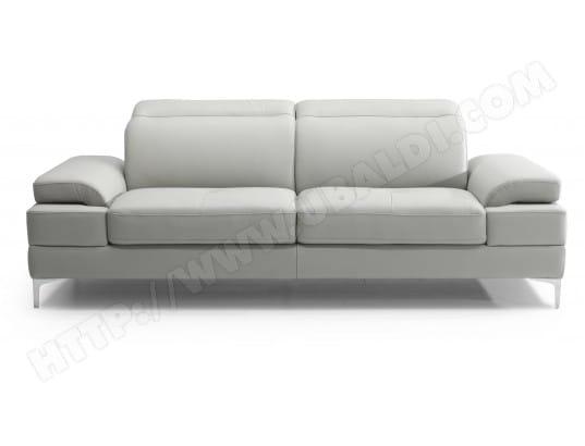 Canapé cuir DIVANI FORM Denis 3 places fixe cuir gris clair
