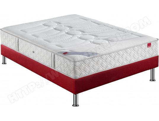 Ensemble Matelas Sommier 120 x 190 EPEDA Lit Poudre + Chatel Axis rouge 120x190