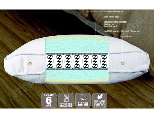 oreiller a ressort Oreiller rectangle BIOTEX Excellence 70x40cm ressorts ensachés Pas  oreiller a ressort