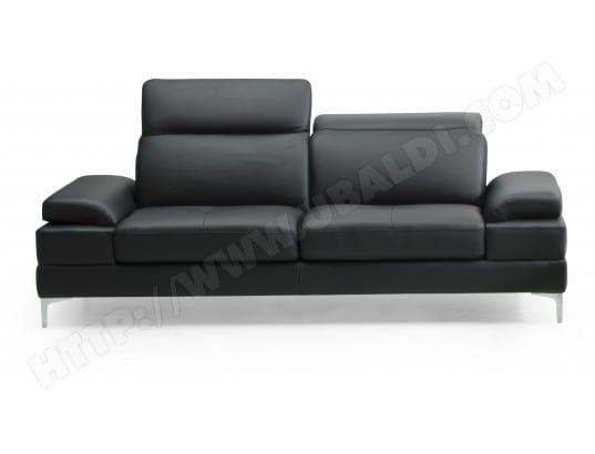Canapé cuir DIVANI FORM Denis 3 places cuir noir