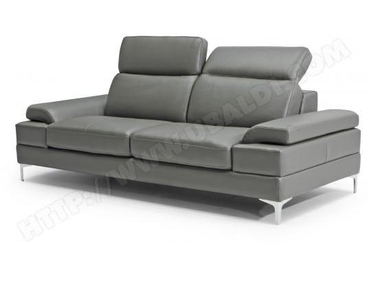 Canapé cuir DIVANI FORM Denis 3 places cuir grigio
