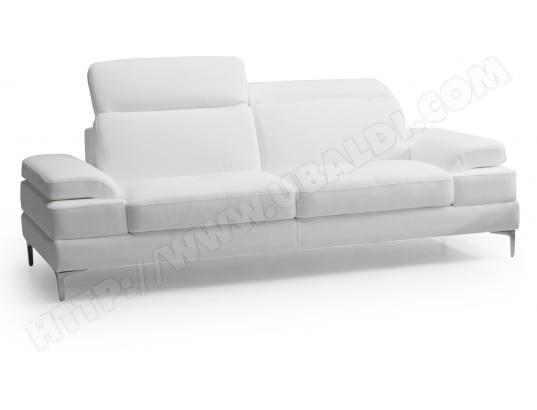 Canapé cuir DIVANI FORM Denis 2 places cuir blanc