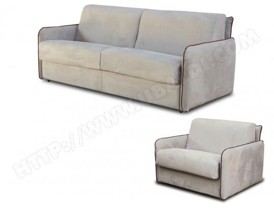 Salon microfibre CITY Augusta 3 pl matelas 140 + fauteuil beige/marron