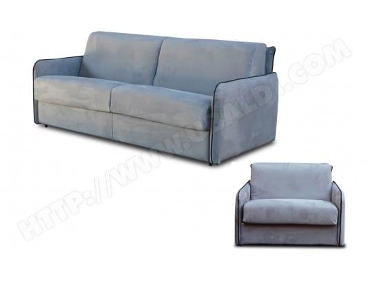 Salon microfibre CITY Augusta 3 pl matelas 140 + fauteuil gris/noir