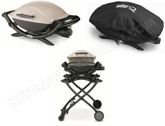 Barbecue gaz WEBER Q2000 + Chariot 6557 + Housse 7118