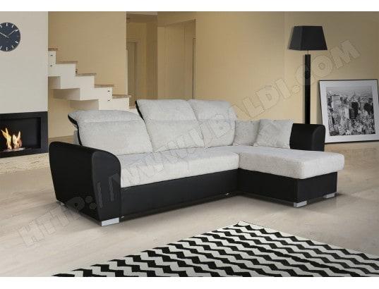 Canapé lit UB DESIGN Ambre angle droit noir/beige