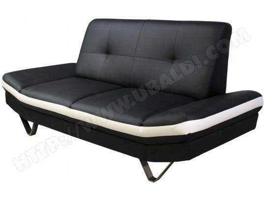 Canapé PU (simili cuir) UB DESIGN Valérie 2 places noir/blanc