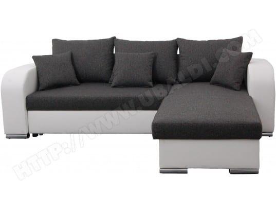 Canapé lit UB DESIGN Bart 2 angle réversible blanc/gris