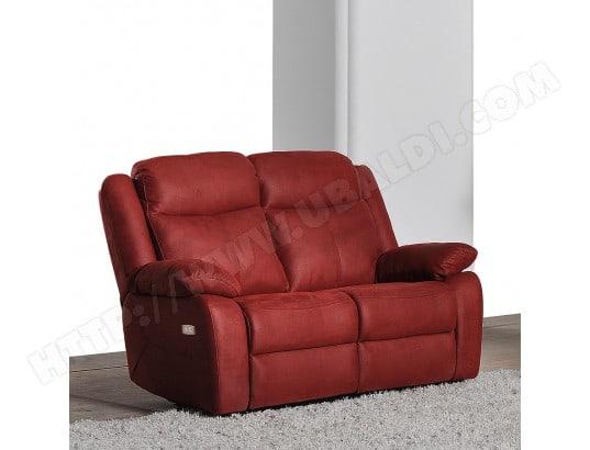 Canapé tissu UB DESIGN Fabia 2 places 2 relax electriques tissu bordeaux