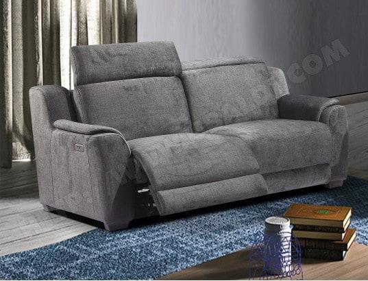 Canapé tissu UB DESIGN Pavela 3 places 2 relax électriques tissu gris
