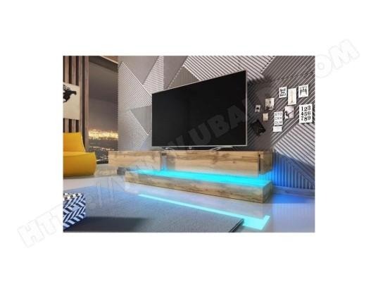 Meuble Tv Design Suspendu Fly 140 Cm à 2 Tiroirs Coloris Chêne