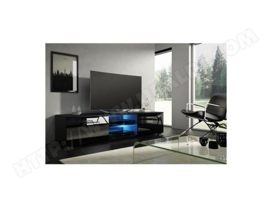 meuble tv design leon 140 cm 2 tiroirs 2 niches coloris noir mat et noir brillant led. Black Bedroom Furniture Sets. Home Design Ideas