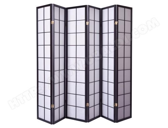 paravent japonais grands carreaux bois noir et papier de riz 6 pans pegane ma 82ca357para. Black Bedroom Furniture Sets. Home Design Ideas