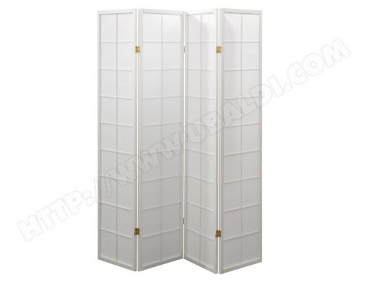 paravent japonais grands carreaux bois blanc et papier de riz 4 pans pegane ma 82ca357para. Black Bedroom Furniture Sets. Home Design Ideas