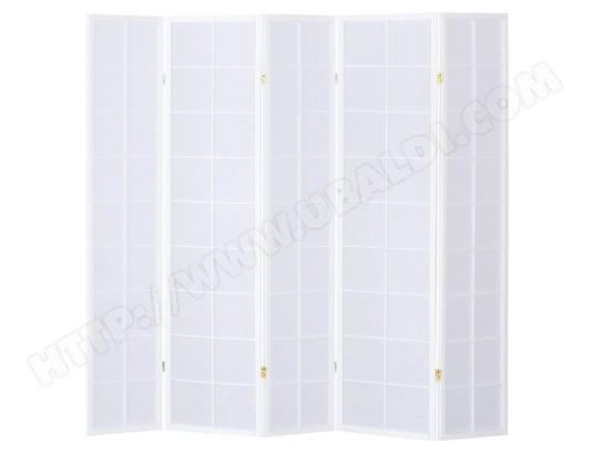 paravent japonais grands carreaux bois blanc et papier de riz 5 pans pegane ma 82ca357para. Black Bedroom Furniture Sets. Home Design Ideas