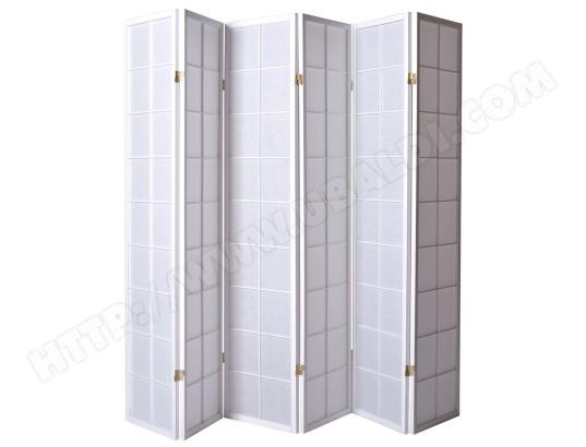 paravent japonais grands carreaux bois blanc et papier de riz 6 pans pegane ma 82ca357para. Black Bedroom Furniture Sets. Home Design Ideas