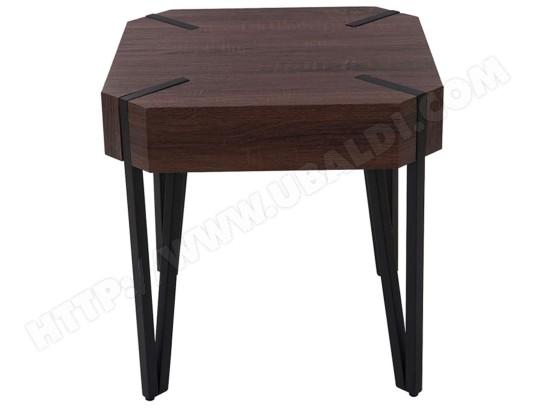Table De Chevet Coloris Chêne Brun Avec Pieds En Métal Noir