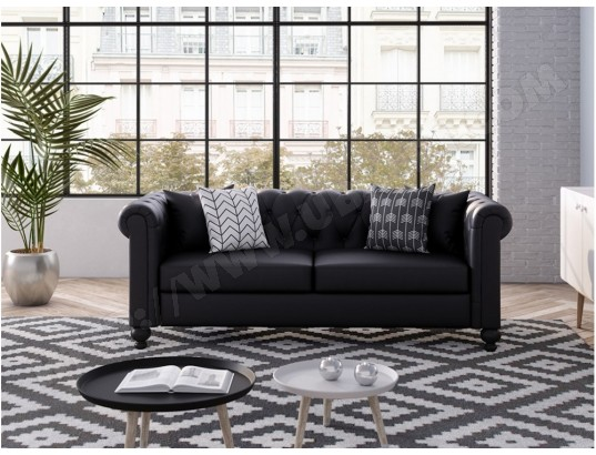 Canapé Chesterfield ALFRED 3 places en simili noir USINESTREET 286