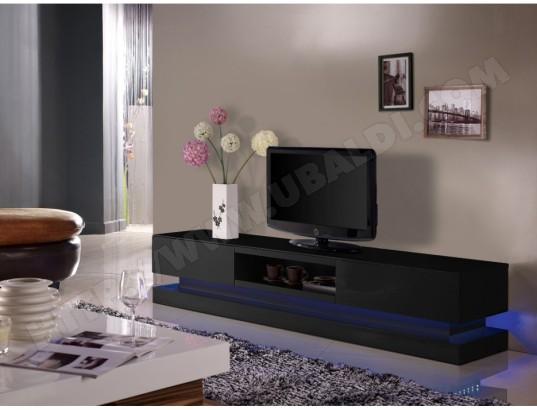 Meuble TV FIRMAMENT - MDF laqué noir - LEDs - 2 tiroirs & 1 ...