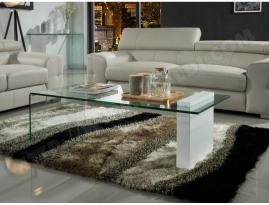 Table Basse Mandy Verre Courbe Mdf Laque Blanc Vente Unique Ma