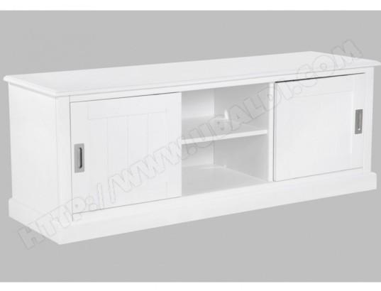 Meuble TV GUERANDE - 2 portes & 2 niches - Pin blanc VENTE-UNIQUE MA ...
