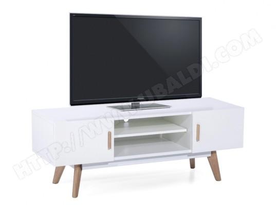 Meuble TV NORDIK - 2 portes & 2 niches - MDF laqué & chêne - Blanc ...