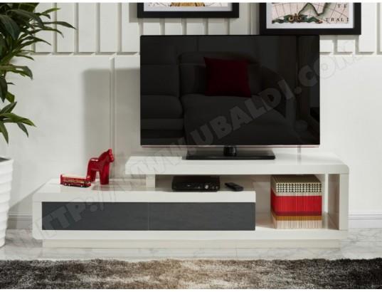 Meuble TV ARTABAN - 2 tiroirs - MDF laqué - Blanc et gris VENTE ...