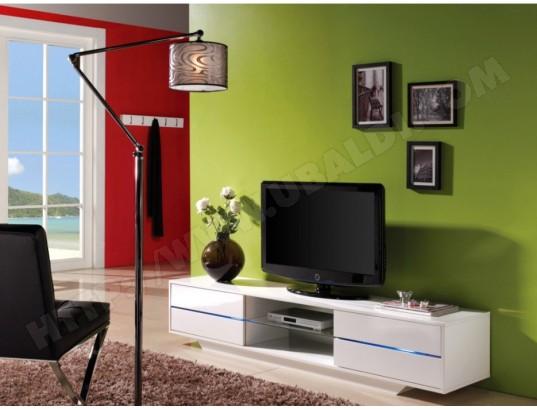 Meuble TV PEGAZE - MDF laqué blanc - LEDs - 4 tiroirs VENTE-UNIQUE ...