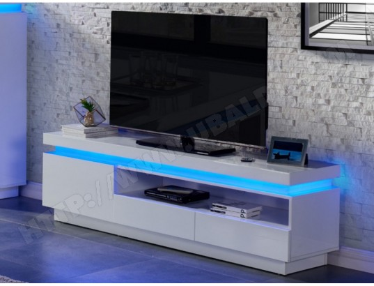 Meuble TV EMERSON - 1 porte & 2 tiroirs - MDF laqué blanc - LEDs ...