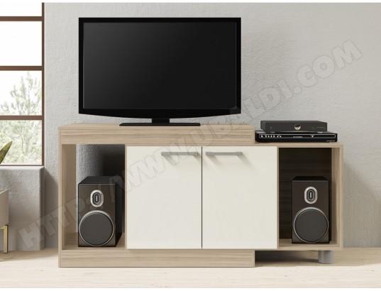Meuble TV extensible THIAGO - 2 portes & 2 niches - Chêne VENTE ...