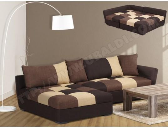Gauche Canapé Tissu Convertible En Angle D'angle Romane Chocolat K1JFTcl