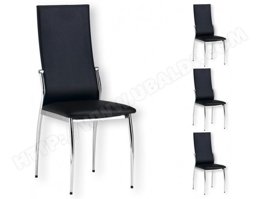Lot De 4 Chaises De Salle A Manger Doris Pietement Chrome Revetement