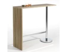 6d462813eee143 IDIMEX 13197 Table haute de bar RICARDO mange-debout comptoir piètement  métal chromé, plateau en MDF décor chêne sonoma